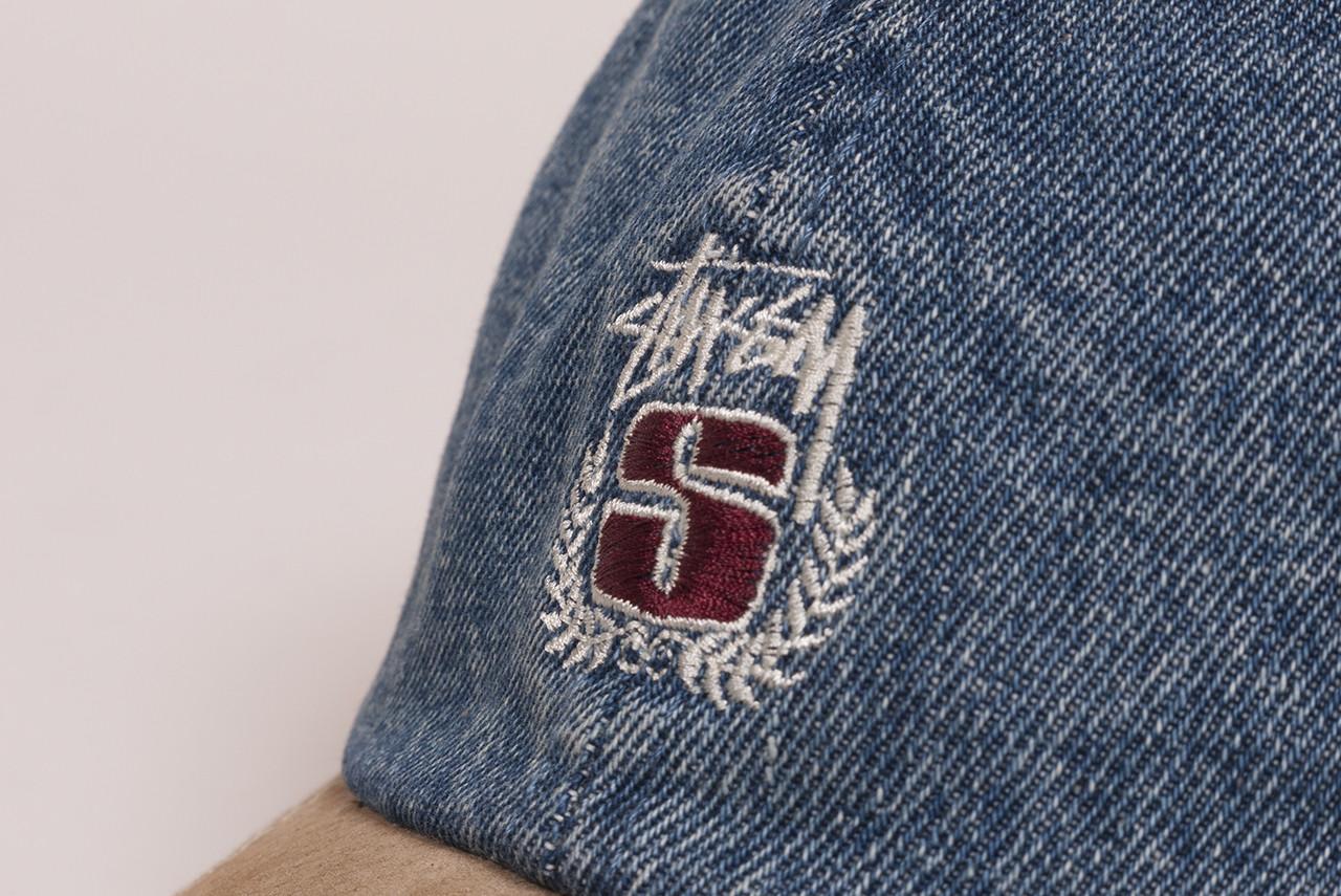 374d0c8e2c9 Stussy Denim Suede Crest Cap
